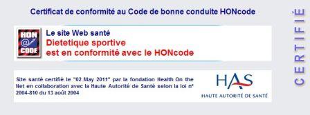 Dietetiquesportive certifie HON