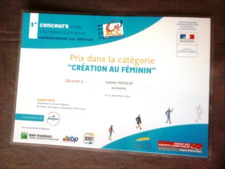 Nutrimove, conseil et formation en nutrition, récompensé au concours régional Créacc