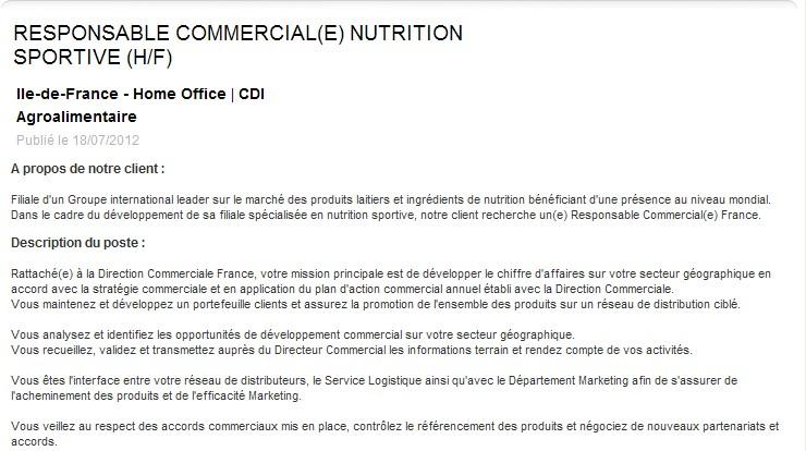Offre d'emploi de responsable commercial en nutrition sportive